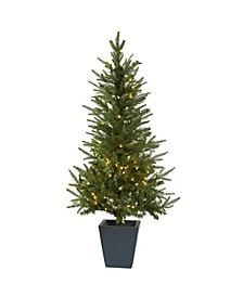 4.5-Ft. Christmas Tree with Clear Lights and Decorative Planter