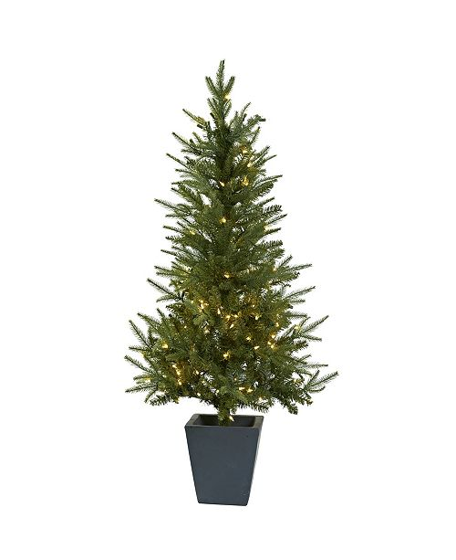 4 5 Ft Christmas Tree With Clear Lights And Decorative Planter