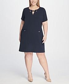 Plus Size Scuba Crepe Pocket Shift Dress