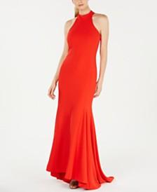 Calvin Klein Tie-Neck Halter Gown