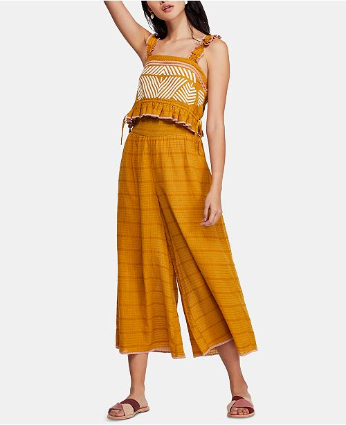 Free People Eva Printed Cropped Top & Wide-Leg Pants Set