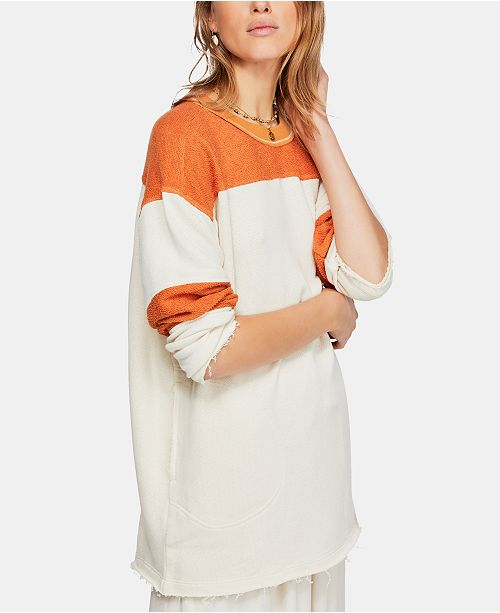 Free People Jordan Colorblocked Raw-Edge Sweatshirt
