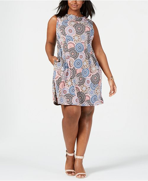 Connected Plus Size Pinwheel A-Line Dress & Reviews - Macy\'s