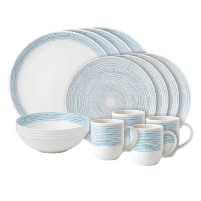 Crafted by Royal Doulton Polar Blue Dots 16-Piece Set