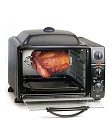 Elite Cuisine 0.8' Multi - function Toaster Oven with Rotisserie and Grill, Griddle Oven Top
