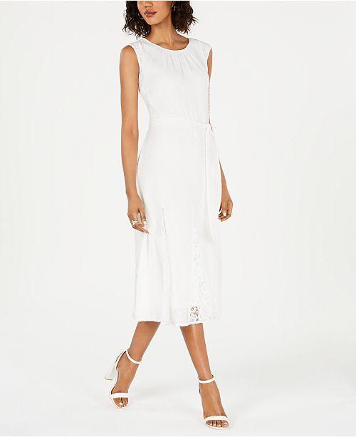 Taylor Petite Belted Lace Swiss Dot Midi Dress Reviews