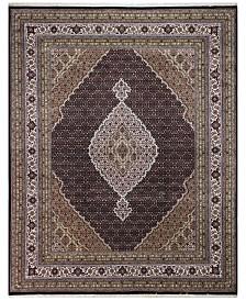 "BB Rugs Fine Indo Tabriz 628673 Black/Ivory 7'10"" x 9'9"" Area Rug"