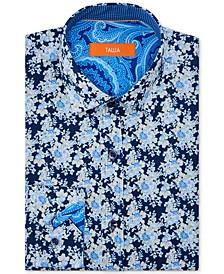 Orange Men's Slim-Fit Performance Stretch Moisture-Wicking Wrinkle-Resistant Floral Dress Shirt