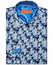 Tallia Orange Men's Slim-Fit Performance Stretch Moisture-Wicking Wrinkle-Resistant Floral Dress Shirt