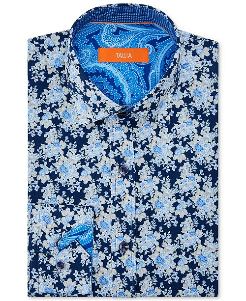 Tallia Orange Men's Slim-Fit Performance Stretch Moisture-Wicking Wrinkle-Resistant Floral Dress Shirt