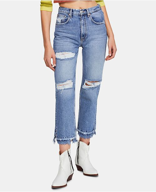 Free People Lita Distressed Cropped Capri Jeans