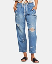 08b6410a8cc Free People Mixed Up Cotton Distressed Utility Jeans