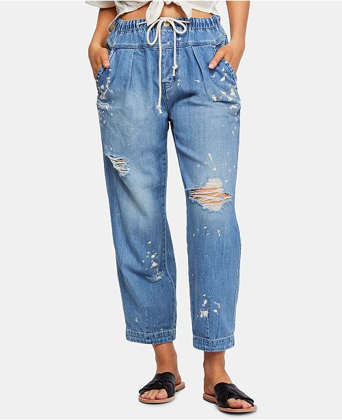 Free People Mixed Up Cotton Distressed Utility Jeans