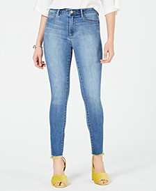 Heather Frayed-Hem Skinny Jeans