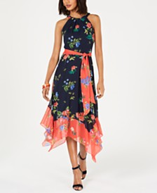 Jessica Howard Petite Floral Colorblocked A-Line Dress