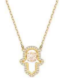 "Swarovski Gold-Tone Crystal Hamsa Pendant Necklace, 14-7/8"" + 2"" extender"