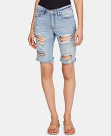 Free People Caroline Ripped Cotton Bermuda Shorts