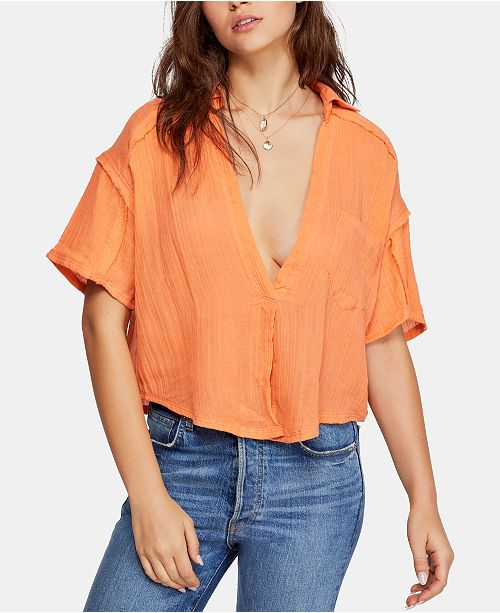 Free People Full Of Light Cotton Tie-Front Shirt