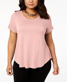 Alfani Plus Satin-Trim High-Low T-Shirt, Created for Macy's