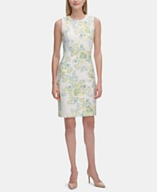 Calvin Klein Floral-Print Sleeveless Sheath Dress