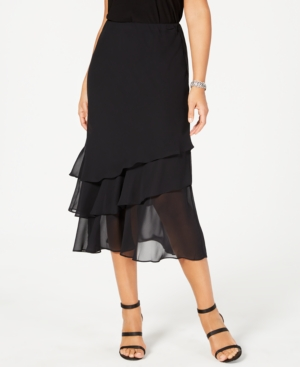 1920s Skirts, Gatsby Skirts, Vintage Pleated Skirts Alex Evenings Skirt Tiered Chiffon Midi $75.00 AT vintagedancer.com