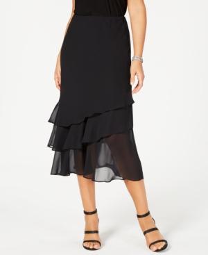 1920s Skirt History Alex Evenings Skirt Tiered Chiffon Midi $55.99 AT vintagedancer.com