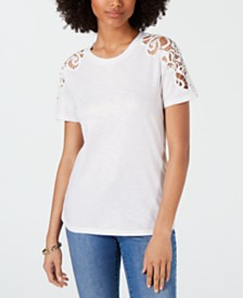 I.N.C. Crochet-Sleeve T-Shirt, Created for Macy's