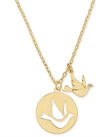 "Kate Spade New York  Gold-Tone Bird Pendant Necklace, 15-1/2"" + 3"" extender"