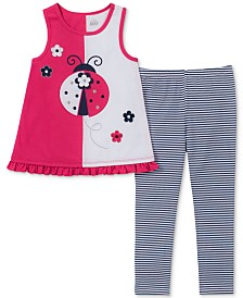 Kids Headquarters Baby Girls 2-Pc. Ladybug Tank Tunic & Striped Leggings Set