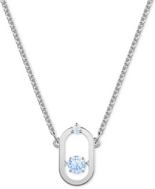 """Silver-Tone Crystal Open Oval Pendant Necklace, 14-7/8"""" + 2"""" extender"""