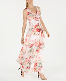 Calvin Klein Floral-Print Surplice Gown