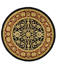 """Lyndhurst Black and Red 5'3"""" x 5'3"""" Round Area Rug"""