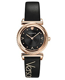 Women's V-Motif Black Leather Strap Watch 35mm