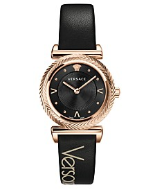 Versace Women's V-Motif Black Leather Strap Watch 35mm