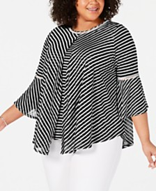 John Paul Richard Plus Size Split Striped Top