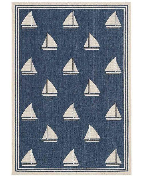 "Safavieh Courtyard Navy and Beige 5'3"" x 7'7"" Sisal Weave Area Rug"