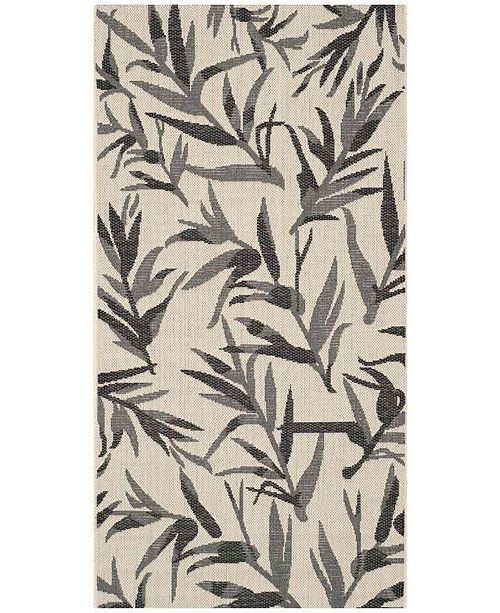 """Safavieh Courtyard Beige and Anthracite 2'7"""" x 5' Sisal Weave Area Rug"""