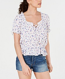 Juniors' Printed Ruffled Cap-Sleeve Top