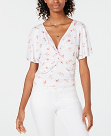 Ultra Flirt Printed Knot-Front Top