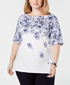 Karen Scott Plus Size Printed Top, Created for Macy's
