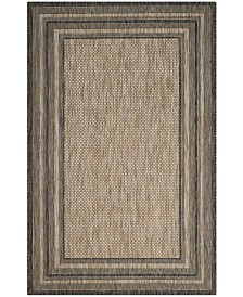 """Safavieh Courtyard Natural and Black 4' x 5'7"""" Area Rug"""