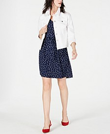 Denim Jacket & Printed Ruffle-Sleeve Dress, Created for Macy's