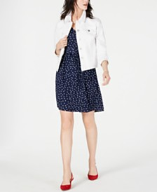 Maison Jules Denim Jacket & Printed Ruffle-Sleeve Dress, Created for Macy's