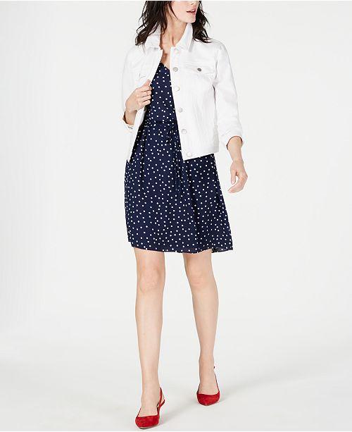 Maison Jules Denim Jacket & Printed Ruffle-Sleeve Dress, Created for Macy's