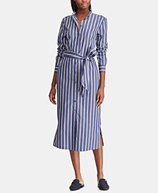 Lauren Ralph Lauren Petite Striped Twill Shirtdress