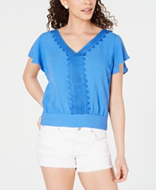 BCX Appliqué-Trim Tie-Hem Top