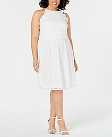 Trendy Plus Size  Lace Halter Dress