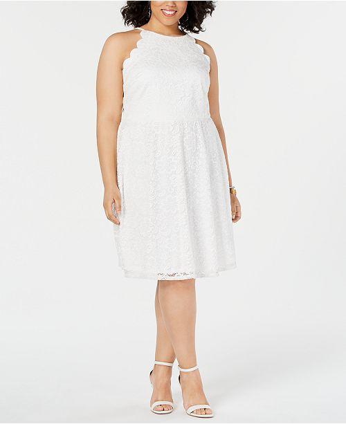Juniors\' Trendy Plus Size Lace Halter Dress