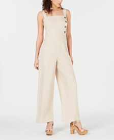 Be Bop Juniors' Button-Front Wide-Leg Jumpsuit