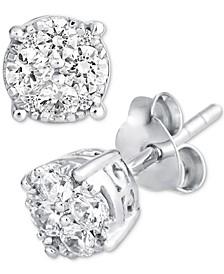Diamond Stud Cluster Earrings (1/2 ct. t.w.) in 14k White Gold